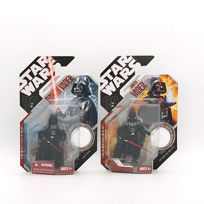 Two Hasbro 2007 Star Wars Darth Vader 1 and 16 with Exclusive Collector Coin, New Old Stock