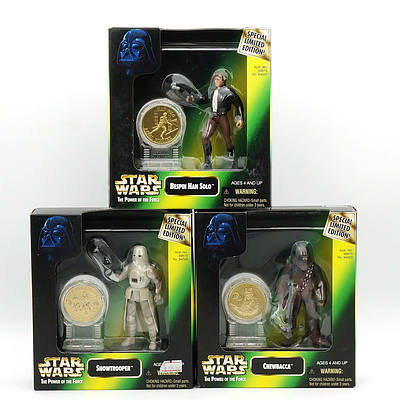 Three Kenner 1997 Star Wars The Power of the Force Limited Edition New Millennium Coin Collection, Snowtrooper, Han Solo and Chewbacca, New Old Stock