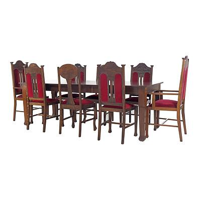 Norman Turner & Nottage Oak Extension Dining Suite, Early 20th Century