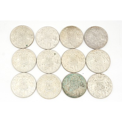 Twelve Australian 1966 Silver Fifty Cent Coins