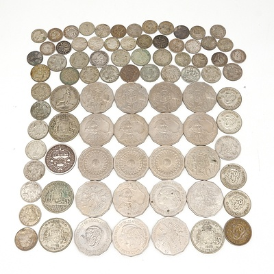 Group of Australian Coins, Including 1927 and 1954 Florins, Shillings, Three Pence and More