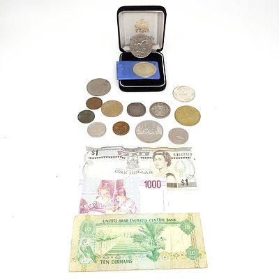 USA 1974 $1 Dollar, Netherlands 1945-1970 Medallion, International Banknotes and More