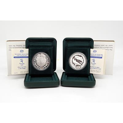 Two $5 Sydney 2000 Olympic .999 Silver Proof Coins, Including Seachange and Sharks