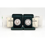Two $5 Sydney 2000 Olympic .999 Silver Proof Coins, Including Fest of Dream and Flora and Fauna