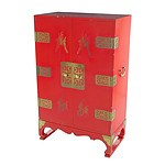 Nice Asian Red Lacquer Cabinet with Brass Mounts