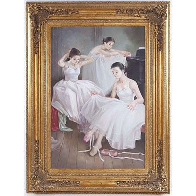 Decorative Oil Painting on Canvas Signed A. Claudie, Ballet Scene