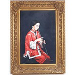Decorative Oil Painting on Canvas Signed S. Hansen, Chinese Girl with Flute
