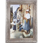 Decorative Oil Painting on Canvas Signed A. Claudie, Dutch Scene