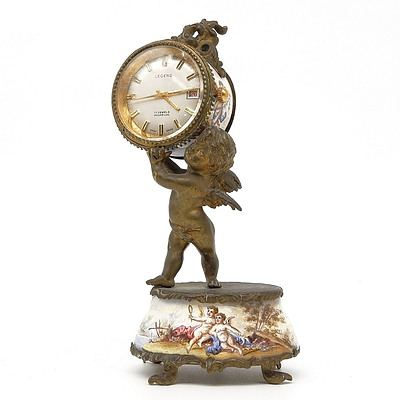 Antique French Ormulu and Limoges Hand Painted Enamel Clock with Later Swiss Legend Seventeen Jewel Incabloc Movement