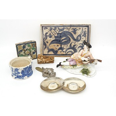 Group of Collectables, Including Silver .925 Bon Bon Dishes, Antique Decorative Tiles, Porcelain Figurine and More