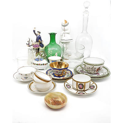 Group of Various Tea Settings, Cut Crystal Decanter, Vases, Porcelain Figurines and More
