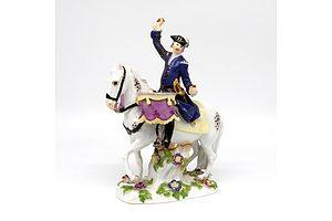 Meissen Porcelain Figure on Mounted Infantry Drummer