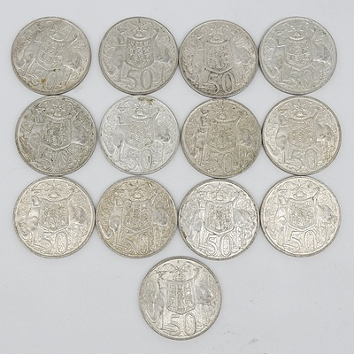 Thirteen Australian 1966 Silver Fifty Cent Coins