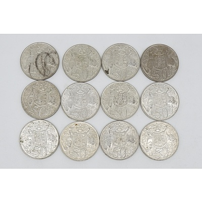 Twelve Australian 1966 Silver Fifty Cent Coins