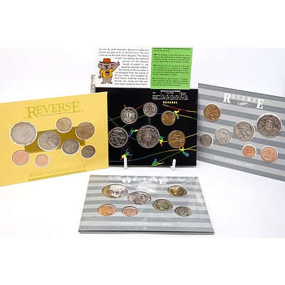 Four RAM Uncirculated Coin Sets, Including Two 1987 Mint Set, 1988 Mint Set - Bicentenary and 1992 Olympic Games