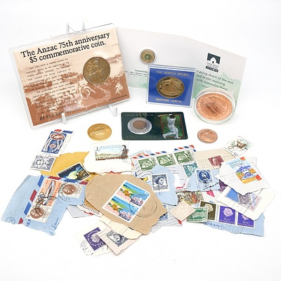1990 75th Anniversary $5 Coin, 2014 Remembrance Day $2 Coin, Various Medallions and Stamps