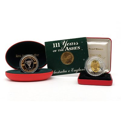 RAM 2004 $5 AFL Coin, 2003 $5 Rugby World Cup Coin and 111 Years of the Ashes Coin
