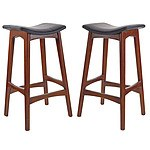 Pair Johannes Anderson Style Black Leather Upholstered Bar Stools