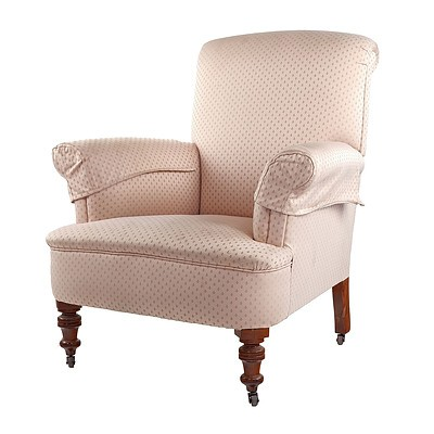 Edwardian Armchair Reupholstered in Salmon Fabric with Floral Motif