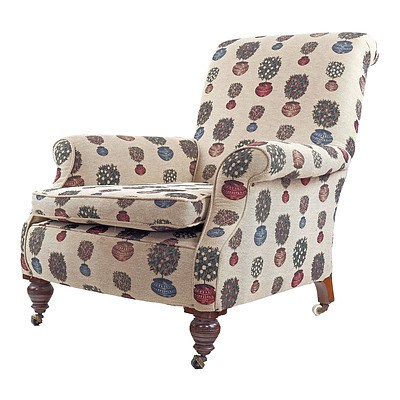 Edwardian Armchair Reupholstered with Potted Plant Motif Fabric