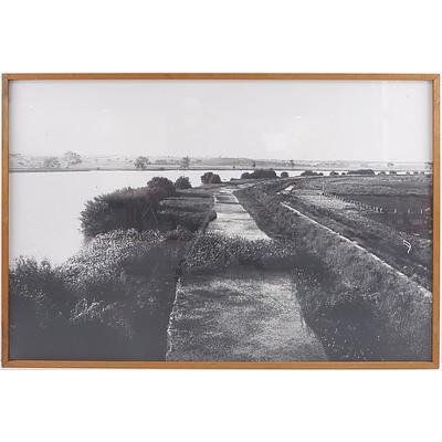 Framed Black and White Lake Scene Print