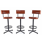 Three Ramler Retro Brown Leather Upholstered Swivel Stools
