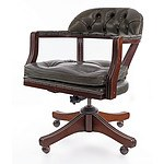 Dark Green Leather Upholstered Captain's Chair