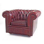 Moran Oxblood Leather Upholstered Deep Buttoned Chesterfield Armchair