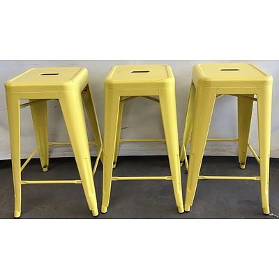 Three Yellow Bar Stools