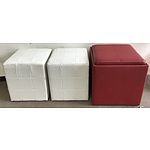 Three Faux Leather Ottomans