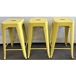 Three Yellow Bar Stools