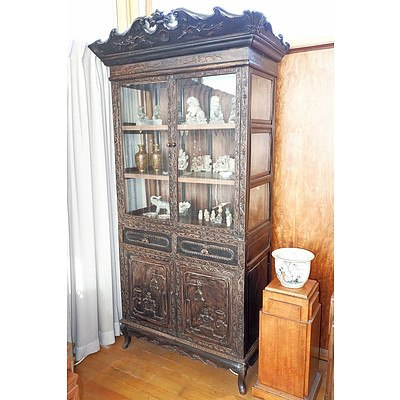 Antique Chinese Stained Hongmu Rosewood Display Cabinet