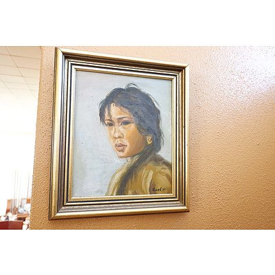Signed Chinese Oil on Canvas, Portrait of a Girl