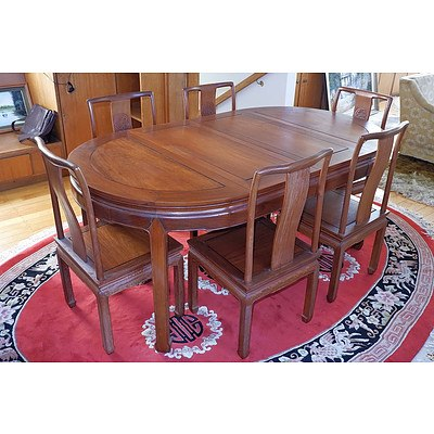 Chinese Rosewood Two Leaf Extension Dining Suite