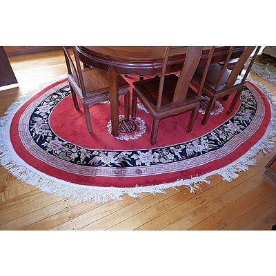 Chinese Sculpted Wool Pile Oval Rug