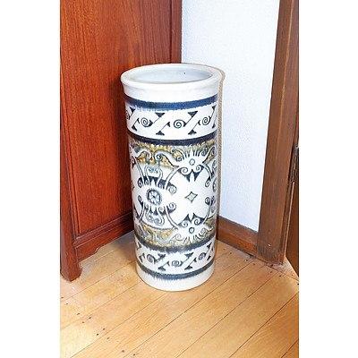 Large Asian Glazed Stoneware Stick Stand