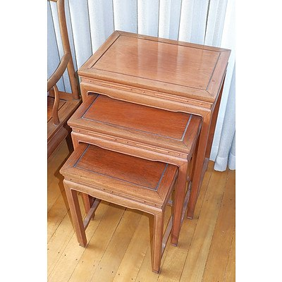 Set of Three Chinese Rosewood Nesting Tables