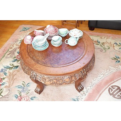 Chinese Hongmu Rosewood and Burlwood Top Low Table Carved With Dragons