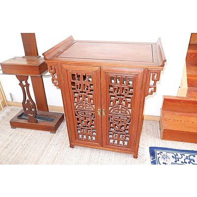 Chinese Rosewood Cabinet with Pierced Doors