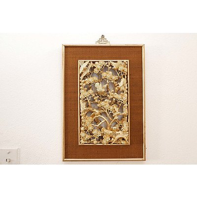 Chinese Carved and Pierced Giltwood Panel