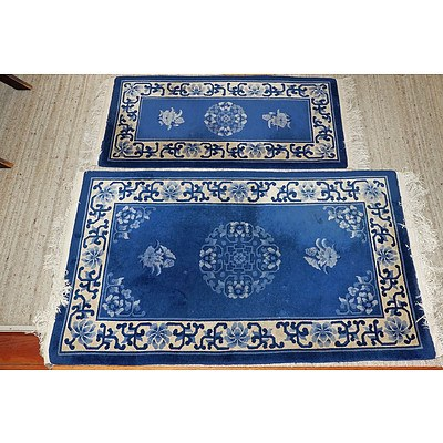 Two Chinese Sculpted Wool Pile Rugs