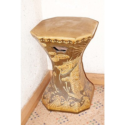 Chinese Glazed Stoneware Dragon Stool