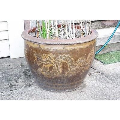 One Chinese Stoneware Dragon Garden Pot