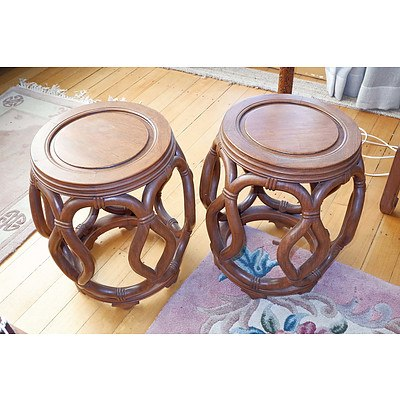 Pair of Chinese Rosewood Drum Stools