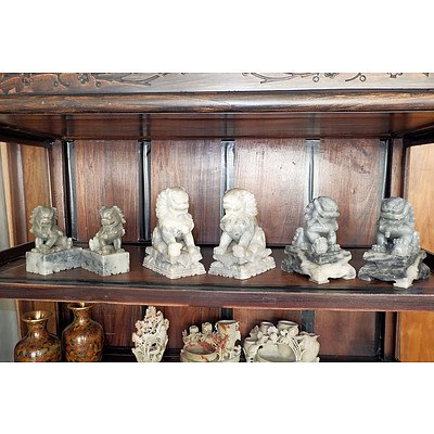 Three Pairs of Chinese Carved Soapstone Temple Dogs