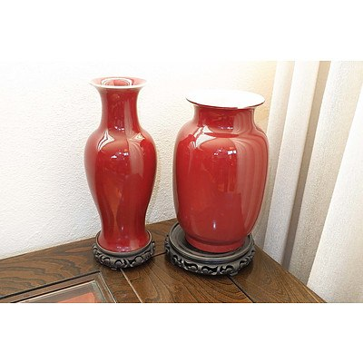 Two Chinese Ox Blood Glazed Vases, Later 20th Century