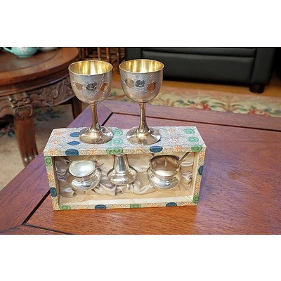 Hallmarked Chinese Silver Small Goblets and Cruet Set, 131g
