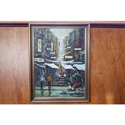 Signed Chinese Oil on Canvas, Hong Kong Steps