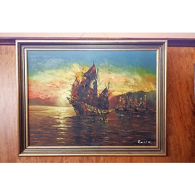 Signed Chinese Oil on Canvas, Junk at Sunset
