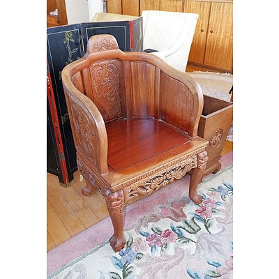 Chinese Rosewood Armchair Carved with Dragons